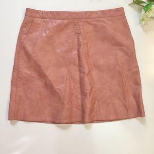 Zara Vegan Faux Pink Leather Mini Skirt